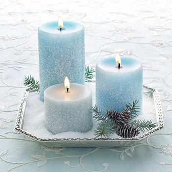 Frosty Salted Pillar Candles