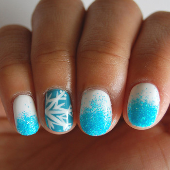 How to Create Unique Snowflake Nail Art with Ombre Glitter