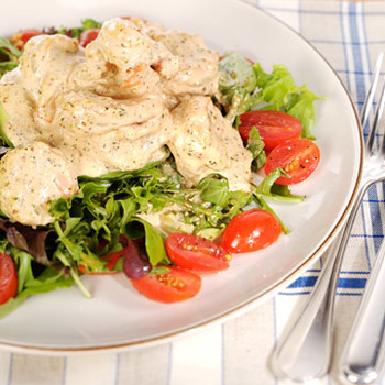 Emeril's Shrimp and Avocado Salad with New Orleans-Style Remoulade Sauce and Baby Greens