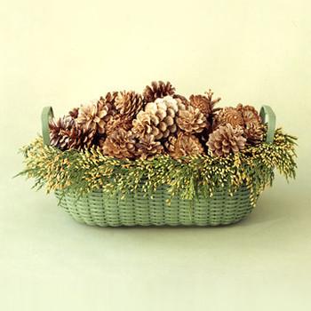 Bleached Pinecones Basket