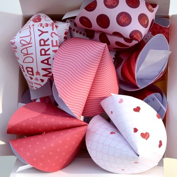 Fun Paper Fortune Cookies for Valentine's Day