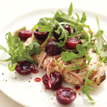 Grilled Chicken with Cherries, Shallots, and Arugula