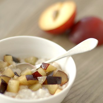 Chilled Plum-Oatmeal Pudding