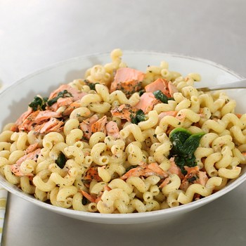 Crusted Salmon-Spinach Pasta