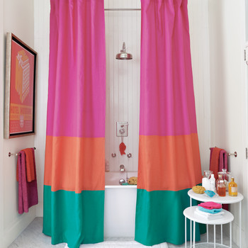 Color-Block Shower Curtain