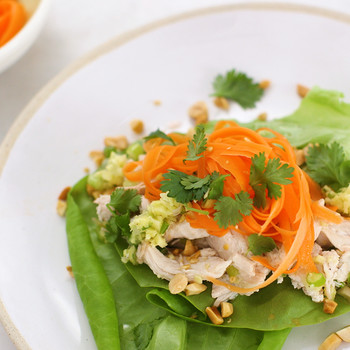 Chicken Lettuce Cups with Ginger-Scallion Oil