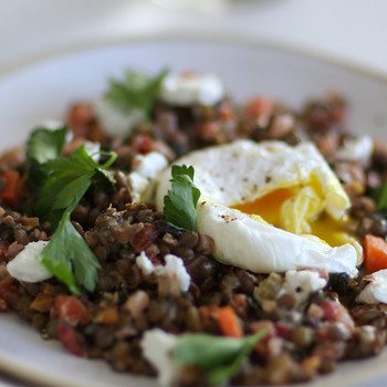 Warm Lentil Salad with Eggs Video