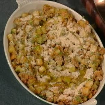 Mirliton Dressing and Bread crumbs