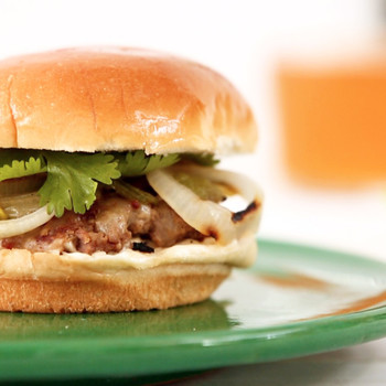 Pepper Jack Pork and Onions Burger