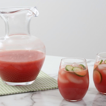Watermelon Cucumber Cooler in a Pitcher and 2 Small Glasses