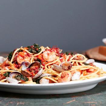 Emeril's Shrimp, Clams, Kale and Pasta