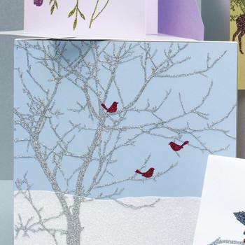 Glittered Clip-Art Bird Cards