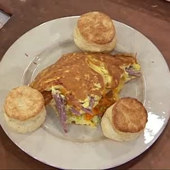 Ham Omelette, Biscuits, and Artichokes