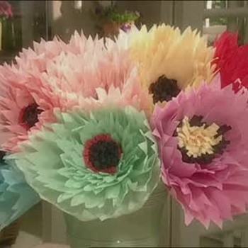 How to make big flowers using crepe paper