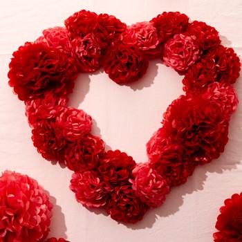 Paper Pom-Pom Heart Wreath