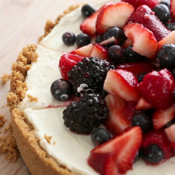 No-Bake Red, White, and Blue Cheesecake