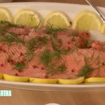 Poached Salmon with Pickled Cucumbers