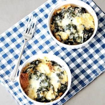 Quick-Bake Spinach and Cheddar Strata