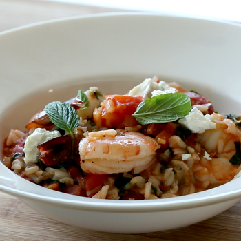 Shrimp with Tomatoes, Spinach, and Rice
