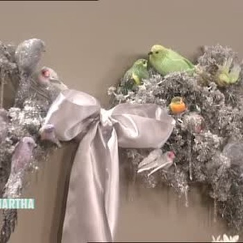 Silver Branch Bow and Glittered Birds