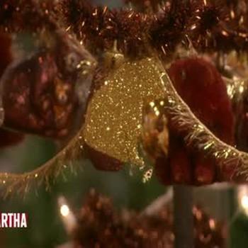 Wood Bear Glitter Christmas Ornaments