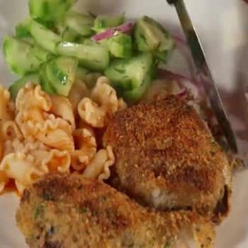 Chicken, Cucumber Salad and Pinky Pasta