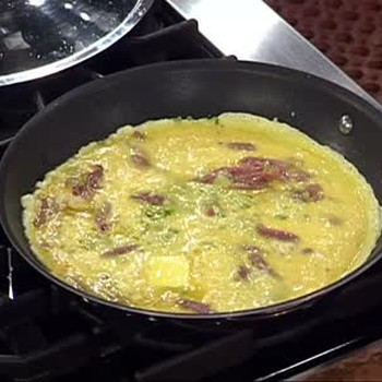 Country Ham Omelette with Green Onions