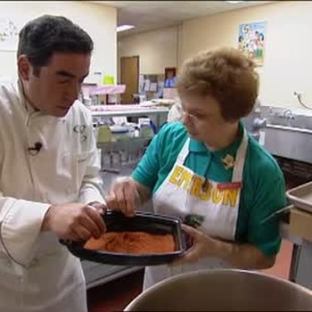 Emeril Lagasse Helps Cook School Lunch
