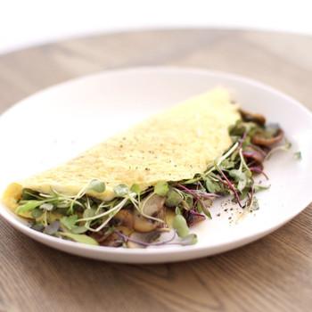 Healthy Mushroom and Microgreen Omelet