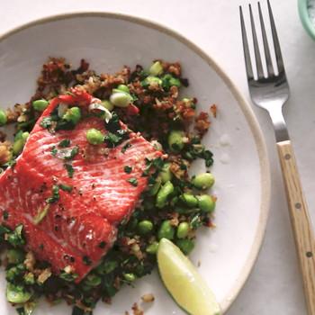 Wild Salmon with Edamame-Cauliflower Rice Video
