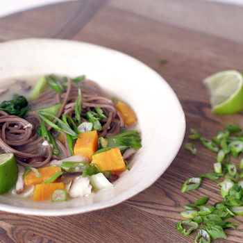 Buckwheat Noodle Miso Soup with Bok Choy