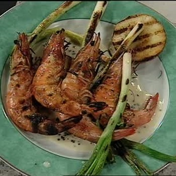 Grilled Prawns with Scallions and Apples