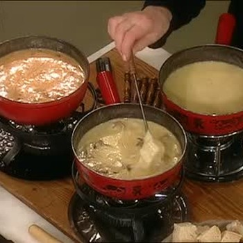 Making Fondue with Three Types of Cheese