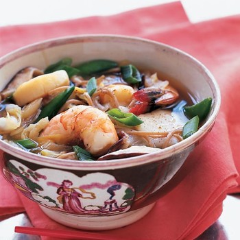 Asian Broth with Poached Shrimp, Scallops, and Soba Noodles