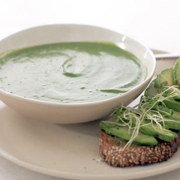 Broccoli, Spinach Soup with Avocado Toasts