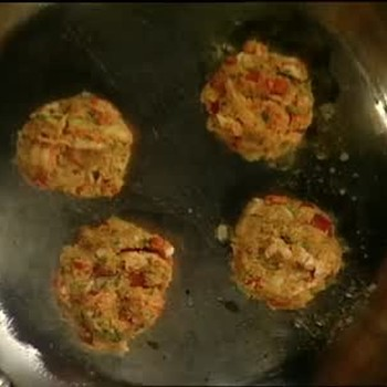 Crawfish Cakes with Roasted Chili Peppers