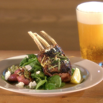 Grilled Rack of Lamb with Mixed Herb Pesto