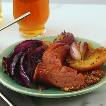 Watch: Roasted Kielbasa with Apples and Cabbage