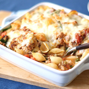 Sausage, Mozzarella, and Broccoli Rabe Baked Pasta