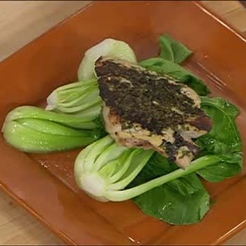 Grilled Chicken with Bok Choi and Olive Oil
