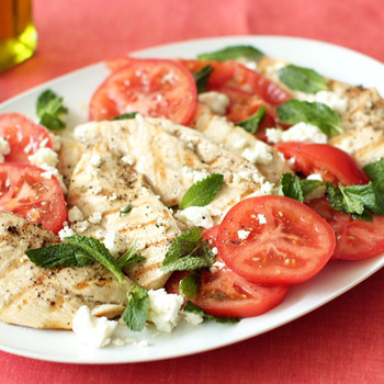 Grilled Chicken with Feta, Tomatoes, and Mint