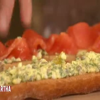 Open-Faced Cured Salmon Baguette Appetizers