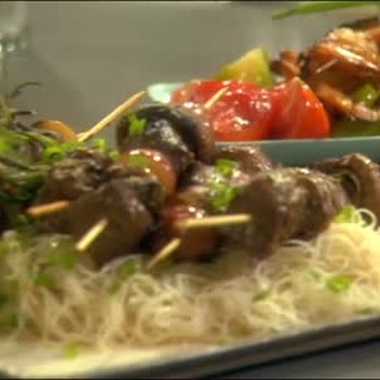 Emeril's Steak with Mushroom and Fruit Kabobs