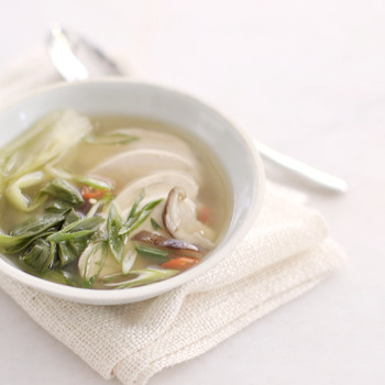 Poached Chicken and Bok Choy in Ginger Broth