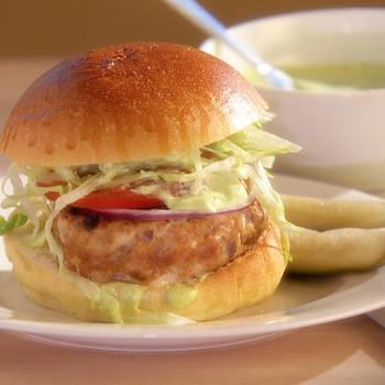 Turkey Burgers with Cilantro-Lime Mayonnaise
