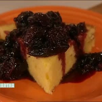 Southern Cornbread with Warmed Whole Cherries
