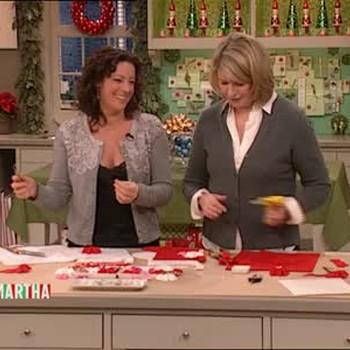 Felt Christmas Stockings with Rickrack Flowers