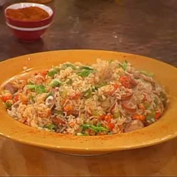 Jake's Crawfish Jambalaya Dish and Rice Pudding