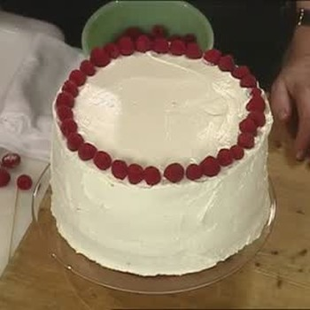 Making a Simple Birthday Cake with Raspberries