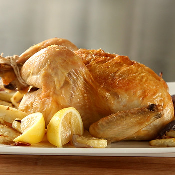 Roasted Chicken with Celery Root and Red Onion